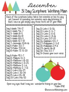 Sweet Blessings: December Scripture Writing Plan. Blog has plans for every month also.