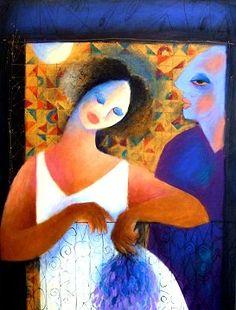 Roberto Chichorro Roberto Chichorro nasceu em 1941 em Lourenço Marques. Dedicou-se desde cedo à pintura, onde expressa toda a magia das... Painting People, Gustav Klimt, Whimsical, Spanish, African, Portugal, Drawings, Illustration, Draw Faces