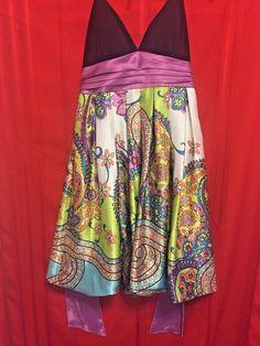 City Triangles Halter Dress Size 5 Black Top Purple Cumberbun Floral Skirt #CityTriangles #HalterBubble #Clubwear