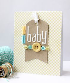 rounded top n banner bottom cute.make center big button blue or pink for gender specific. Baby Shower Cards, Baby Cards, Kids Cards, Baby Scrapbook, Scrapbook Cards, Card Making Inspiration, Making Ideas, Spellbinders Cards, Marianne Design
