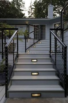 Image result for outdoor wooden staircase cable railings