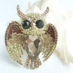 Unique Owl Brooch Pin w Topaz Rhinestone Crystals EE05758C2