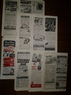 8 Pages Auto Print Ad Originals Vintage 1947 Grizzly, Brakes, Painting, Wheel +