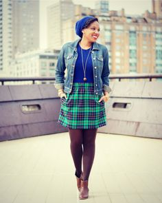 Old Navy Denim Jacket and J. Crew Tartan Mini cia Closet Confections
