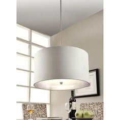 Beige Fabric 3-light Chrome Chandelier - Overstock Shopping - Great Deals on The Lighting Store Chandeliers & Pendants