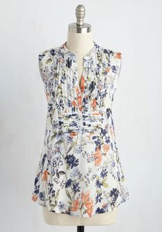 On Your Roam Time Tunic in Spring Blooms - Cream, Multi, Floral, Print, Pleats, Work, Fairytale, Sleeveless, Woven, Good, Variation, V Neck, Long