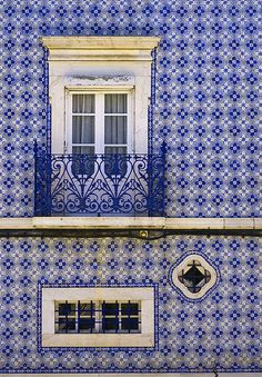 Blue and White Tiled Building