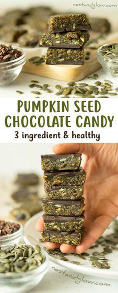 3 Ingredient Pumpkin Seed Chocolate Candy - Vegan, Nut-free, Paleo and Healthy
