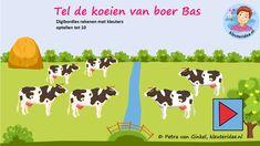 Digibordles optellen tot 10, kleuteridee, gecijferdheid thema de koe, cow counting Kindergarten IWB.