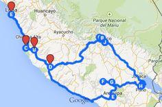 Mi recorrido previsto en Perú