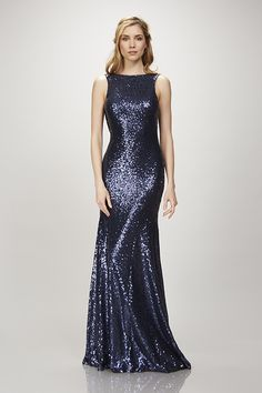 Gemma  - Sleeveless bateau neck matte  sequin gown with cowl back