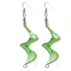 Green Silk Thread Wavy Design Dangle Earrings,$1.70 these look cool