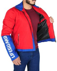 Baywatch Movie Red Costume Red Costume, Costumes, Baywatch, Dwayne Johnson, Celebs, Celebrities, Shirt Style, Red And Blue, Hooded Jacket