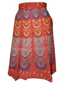 Amazon.com: Mini Wrap Skirts for Womens, Bohemian Barmeri Print Cotton Wrap Around Skirt India: Clothing
