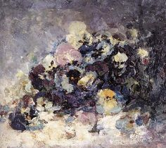 Pansies by Nicolae Grigorescu. Medium: oil on canvas; Flower Photos, Pansies, Art Museum, Oil On Canvas, Picture Frames, Fine Art, Abstract, Artwork, Flowers