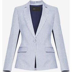 BCBGMAXAZRIA Theodore Striped Blazer ($248) ❤ liked on Polyvore featuring outerwear, jackets, blazers, short-sleeve blazers, stripe blazer, stripe jacket, stretch blazer and button jacket