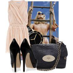 Pink dress and black heels