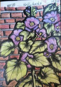 Hollyhocks drawing Hollyhock, Dionysus, Artworks, Gucci, Shoulder Bag, Brown, Drawings, Bags, Handbags