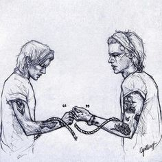 1D Harry Styles and Louis Tomlinson - Larry greyscale quotes and broken rope tied up hands fanart    This is just beautiful.