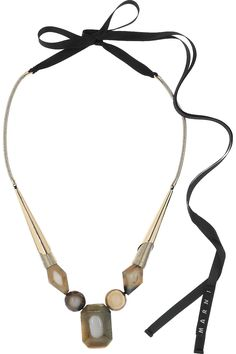 Marni brass, horn and resin necklace