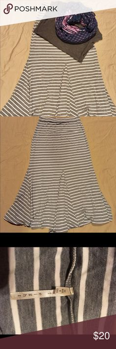 Striped Maxi Skirt Size Medium Grey and white striped Maxi skirt. Elastic waist and swishy bottom. 37 inches long. 60% cotton/ 35% rayon/ 5% spandex. Excellent condition. From a smoke and pet free home. nine 1 eight Skirts Maxi