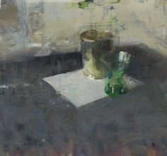 Jon Redmond, Still Life with Green Glass, 2015, oil on board, 10 x 10 inches