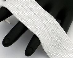 Square Stitch Beaded Bracelet, Diagonals, Opaque White and Pearl White Square (Made to Order)