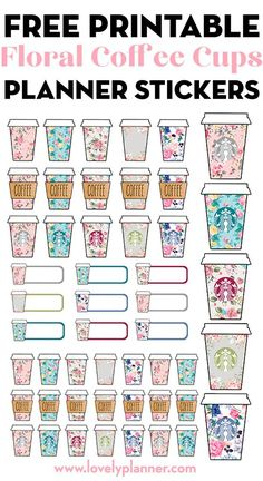 Free Printable Floral Starbucks Coffee Cups Planner Stickers Free Printable Floral Starbucks Coffee Cups Planner Stickers to decorate your planner or bullet journal: keep track of your spending and coffee dates. Printable Planner Stickers, Journal Stickers, Free Printables, Diy Stickers, Bullet Stickers, Notebook Stickers, Calendar Printable, Printable Labels, Journal Cards