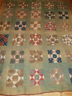 """Antique 1800's 9 Patch Star Variation Pattern Quilt Very Early Fabrics 
