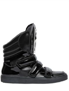 DSQUARED - LEATHER BIG TONGUE HIGH TOP SNEAKERS