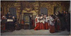 """""""Ensayo al órgano"""". Matías Moreno (1840- 1906). Pintor, escultor y copista español.  El cuadro representa una CANTORIA, con instrumentos del s. XIX. El órgano está situado en el centro. Los instrumentos de viento, lejos a la derecha, así como los cantores. Las cuerdas a la izquierda. Coro de la Catedral de Toledo, 1880. Madrid, Museo del Prado."""