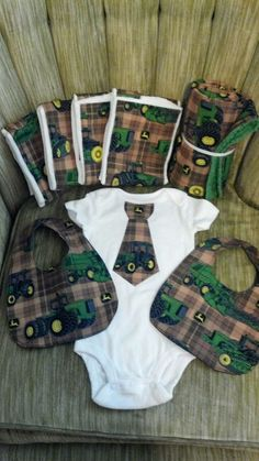John Deere theme for a baby boy. I made all of these as a shower gift!