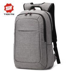 2016 Tigernu Canvas Men's Backpack Bag External USB Charge Brand 14.1Inch Laptop Notebook Mochila for Men Waterproof Back Pack