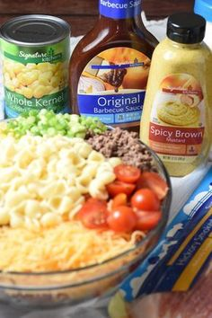 Bacon, ground beef, cheese, and hot sauce make this Cowboy Pasta Salad a definite crowd pleaser! Perfect for summer get togethers. Best Vegan Recipes, Favorite Recipes, Fall Recipes, Slow Cooker Recipes, Cooking Recipes, Steak Recipes, Potato Recipes, Cowboy Salad, Minced Meat Recipe