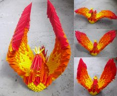 Phoenix - 3D Origami by SophieEkard.deviantart.com