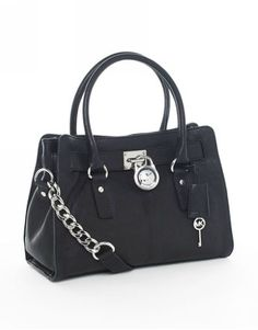 Michael Kors Hamilton Satchel Black Silver-love it! and all MK bags