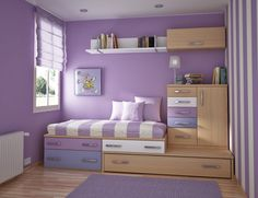 Girl Teen Bedroom With Multifunction Furniture With Lines Design