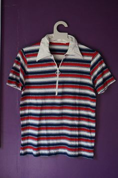vintage 70s 80s striped zip up polo red by dieyoungstaypretty