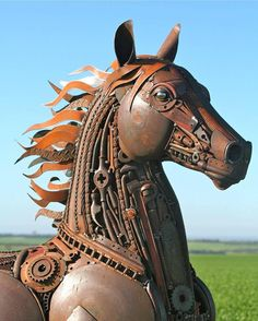 Horse Sculptures That Will Change The Way You Look At Scrap - Salvaged scrap metal transformed to create graceful kinetic steampunk sculptures