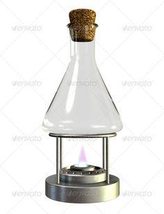 Bunsen Burner And Glass Jar ...  Bunsen Burner, Gas burner, Studio Shot, bottle, burner, burning, chemistry, clear, cork, empty, flame, flaming, glass, isolated, lit, metal, science, stand