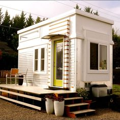 It doesn't seem like it, but this modern tiny home was once a regular trailer, and has been re-done as a tiny guesthouse.