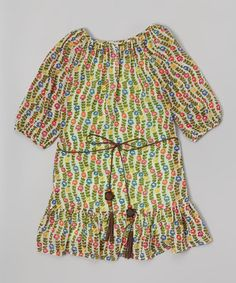 Love this Green Peasant Ruffle Dress - Toddler & Girls on #zulily! #zulilyfinds