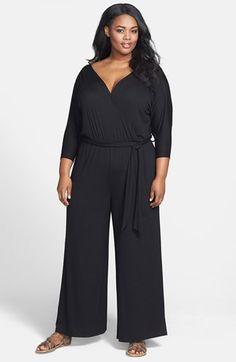 Loveappella Surplice Neckline Jersey Jumpsuit (Plus Size) Plus Size Fall Outfit, Plus Size Outfits, Curvy Girl Fashion, Plus Size Fashion, Chic And Curvy, Lace Party Dresses, Plus Size Jumpsuit, Full Figured Women, Plus Size Skirts