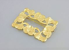 25% OFF CLEARANCE SALEGold Gilt Early Art Nouveau Brooch Floral Sash Pin Brooch Lilypad Brooch. Ornate Gold Gilt Brooch. Nouveau repousse (24.00 USD)