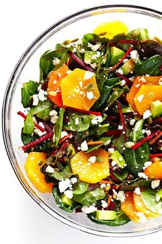 This Green Salad with Beets, Oranges and Avocado is easy to make, full of healthy ingredients, and SO delicious and refreshing!