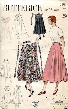 """Vintage 1950s Butterick sewing pattern for a full wrap skirt. Pattern is unprinted. Quick and Easy: Swirling merry-go-round skirt. """"Quick and Easy"""" circular skirt for sun, patio or dance floor. Belt band hooks at side front, apron ties in back. Merry-go-round skirt can be worn four ways bow in back, at side, knot-tied in front, and cummerbund fashion."""