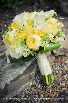 Yellow Wedding Flowers Bridal Bouquet | Megan + Tim: Niagara Winery Wedding at Inn on the Twenty