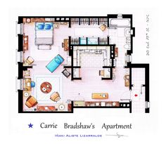 "Carrie Bradshaw's Apartment from ""SEX & THE CITY"" (The TV series, not the movie). This is a hand drawed plan, in scale, coloured with colour pens and with full details of furniture and complements... The design is made according with the ""real"" apartment respecting the spaces, proportions, furniture and objets presents in the studio set. You can buy an original artworks here: http://www.etsy.com/shop/FLOORPLANSTV or writting me to: ializar@hotmail.com"