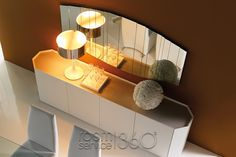 Lacquered wooden sideboard CHELSEA by Cattelan Italia design Alessio Bassan Contemporary Table Lamps, Contemporary Interior, Contemporary Sideboards, Chelsea, Tall Sideboard, Italian Furniture Brands, Italia Design, Bronze Mirror, Glass Shelves