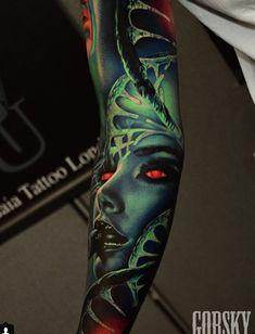 Body Art Tattoos, Sleeve Tattoos, Cool Tattoos, Tattoos For Guys, Tattoos For Women, Surreal Tattoo, Mask Tattoo, Ink Addiction, Colour Tattoo